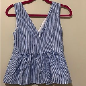 J. Crew Tops - Blue and White Strip V J.Crew Tank
